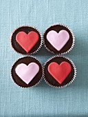 Chocolate cupcakes with fondant hearts for Valentine's Day