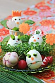 Funny decorated eggs for an Easter breakfast