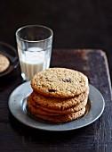 Warm choc chip peanut butter cookies