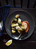 Pork chops, Brussels sprouts and potatoes with mustard and cider butter