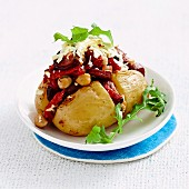 Baked potato with chorizo and haloumi
