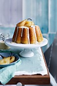 Steamed vanilla pudding with pears and creme anglaise