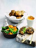 Seed crusted pea falafel