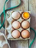 Sechs frische Bio-Eier im Eierkarton, eines aufgeschlagen
