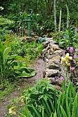 Weg mit Natursteinmauer in dicht bewachsenem Garten