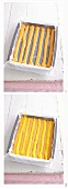 Zitrus-Schachbrett-Rolle zubereiten - Teigstreifen in Backblech