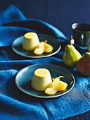 Vanilla panna cotta and poached pears