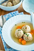 Chicken stock with bread dumplings (home remedy for colds)
