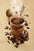 Coffee cherry tea in a glass