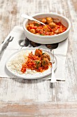 Beef meatballs in tomato sauce with cauliflower couscous
