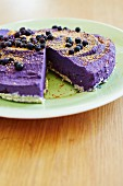 Blueberry cheesecake made from cashew nuts