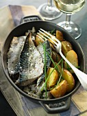 Mackerel fillets with sea salt, chives and potatoes