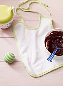 Apple and blueberry puree as baby food