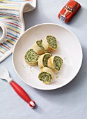 Pancake rolls with spinach as baby food