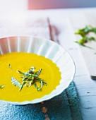 Thai pumpkin soup with lemongrass, tamari and coconut milk