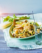Pad Thai with rice noodles, marinated tofu and leek