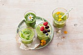 Various green smoothies