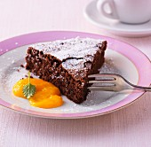 Chocolate cake with fruit puree