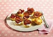 Potato cakes with creme fraiche and bresaola