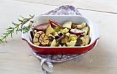 Oven-baked Mediterranean aubergine medley