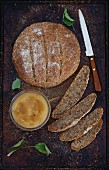 Seeded rye bread with apple butter