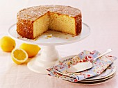 Lemon drizzle cake, sliced