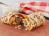 Smoked salmon and coleslaw wraps