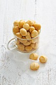 Macadamia nuts in a glass cup