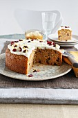 Carrot cake with cream cheese and dried cranberries
