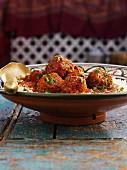 Meatballs on rice (North Africa)