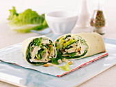 Chicken wraps with cos lettuce