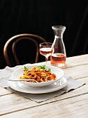 Linguine with chilli prawns, rocket and rosé wine