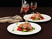 A rack of lamb with Mediterranean vegetables