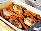 Roast chicken thighs with honey-glazed carrots