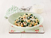 Salmon and spinach tagliatelle