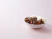 Stir fried beef in black bean sauce with steamed rice