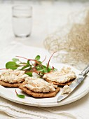 Scottish poached salmon terrine on savoury biscuits garnished with chard