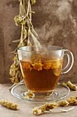 A steaming cup of herbal tea