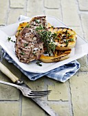 Lamb chops with thyme and grilled pumpkin