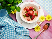Dessert with strawberry cream and fresh strawberries