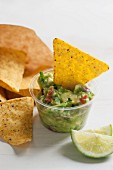 Guacamole with tomato piece and coriander served with tortilla chips