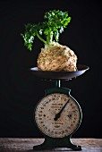 Celeriac on a pair of vintage scales