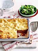 Lasagne mit Rinderhack, Pilzen und Speck in Auflaufform; dazu Blattsalat