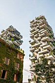 Two high-rise apartment blocks by the architect Stefano Boeri in Quartiere Isola near Porta Nuova in Milan