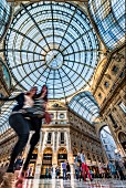 A view of the imposing glass dome in the Galleria Vittorio Emanuele II, shopping mall, Milan