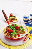 Quesadilla-Torte mit Pilzen und Würstchen