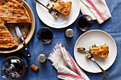 Pizza rustica, sliced