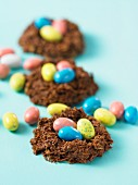 Chocolate Easter nests filled with sugar eggs