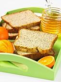 Honey and orange bread with poppy seeds