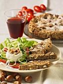 Hazelnut ciabatta with salad
